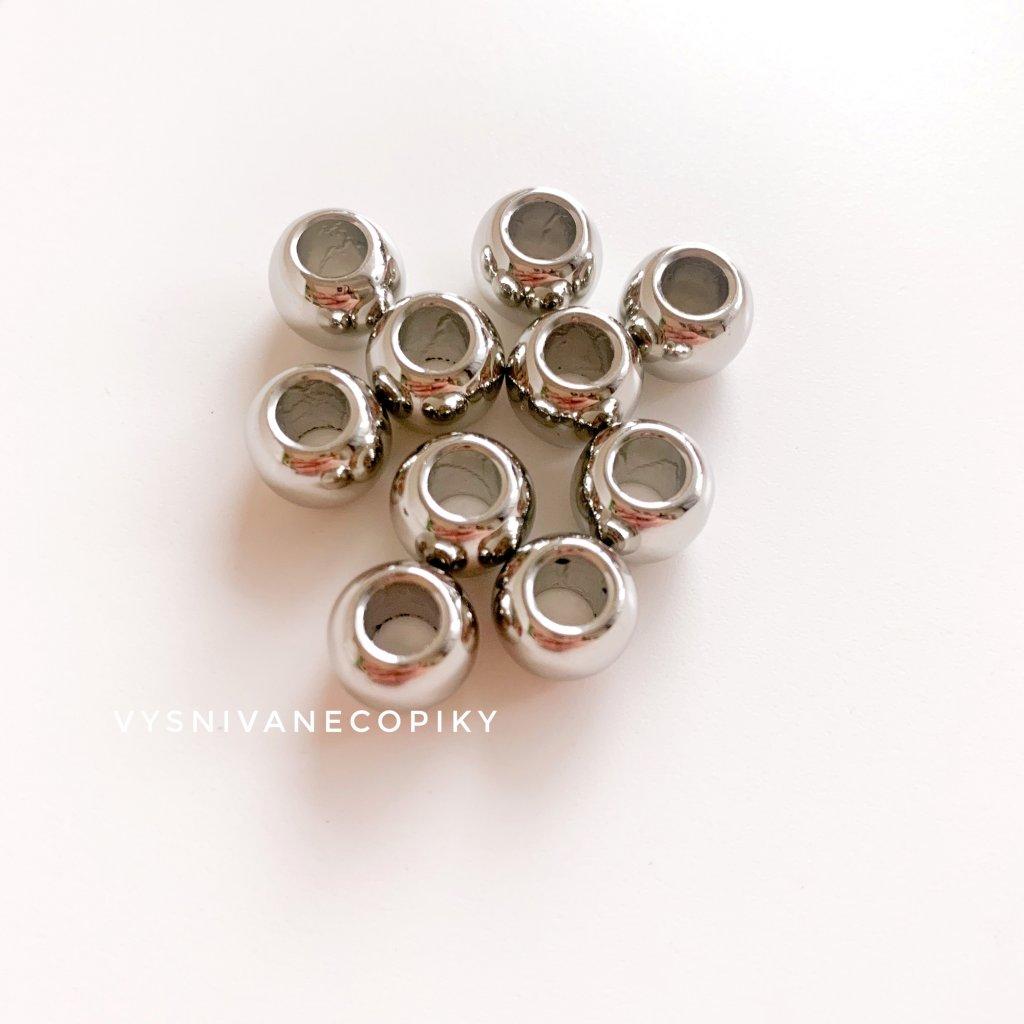 Korálky strieborné - 10x8mm - 10ks