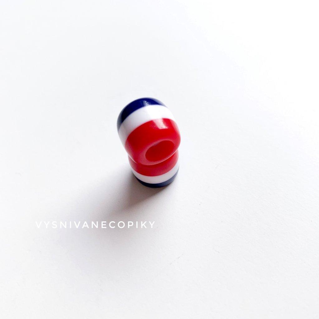 Korálka červeno/bielo/modrá - 11mm
