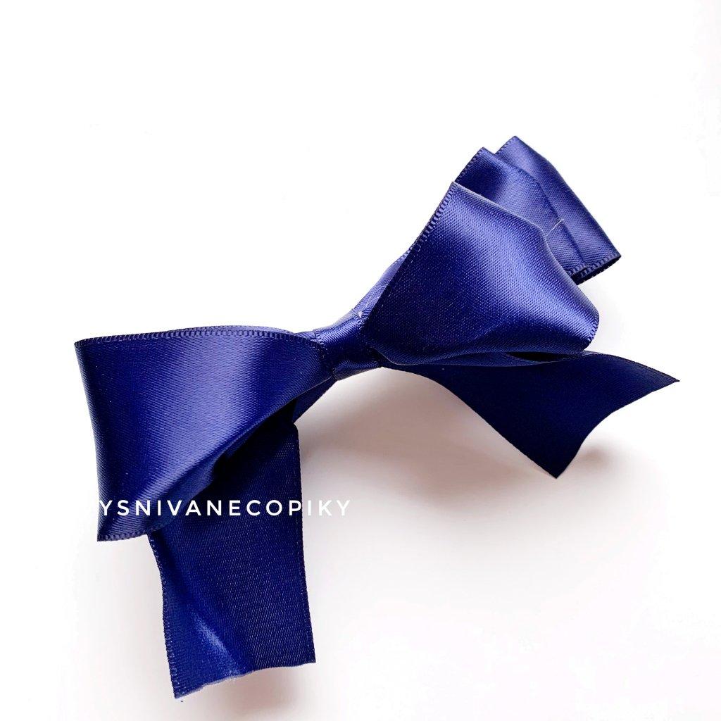 Satenová mašľa do vlasov - modrá