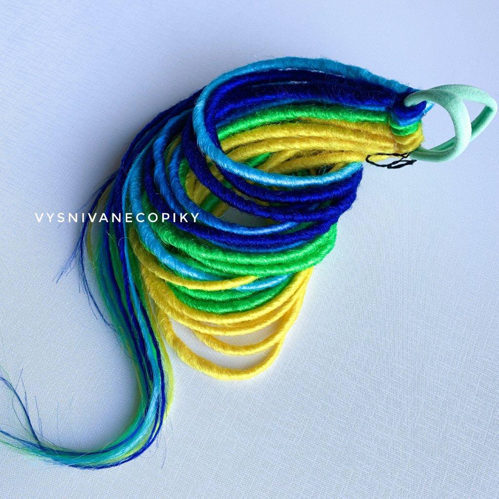 Pár dredo-gumičiek - modrá/zelená/žltá