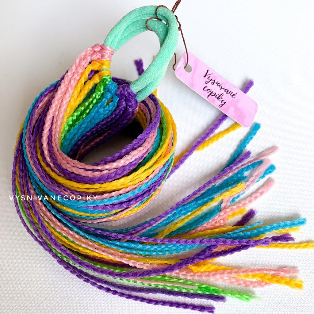 Pár zizi copíkových gumičiek - Svetlá Dúha/L-Rainbow