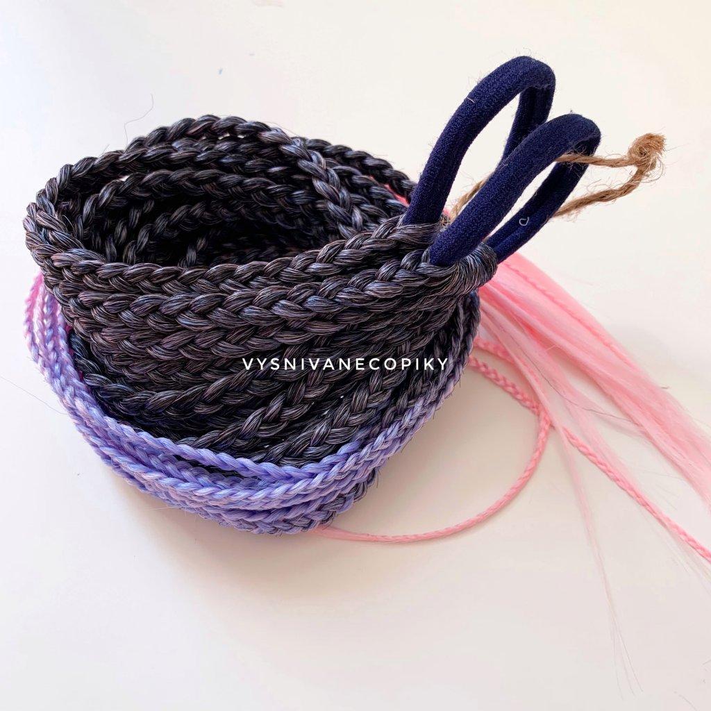 Pár copíkových gumičiek - Black/Lavander/L-pink
