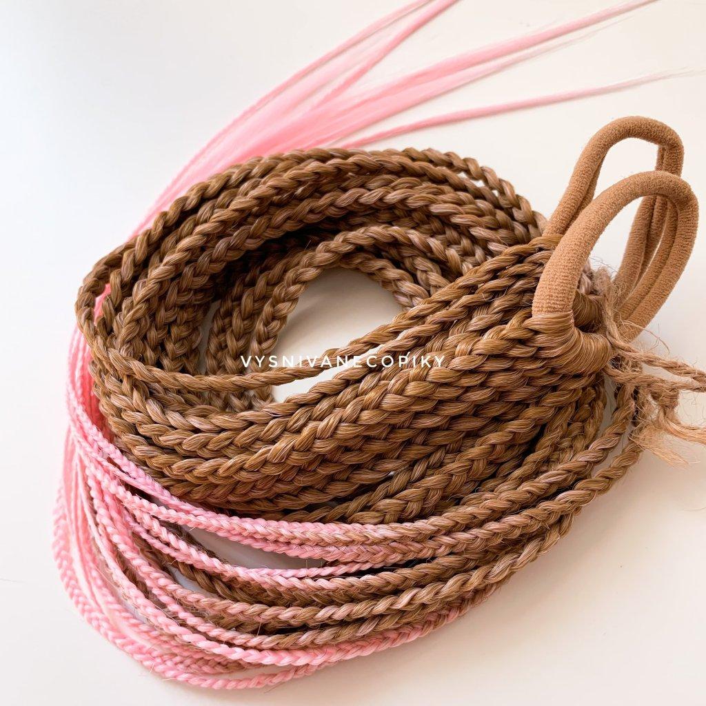 Pár copíkových gumičiek - Brown/L-Pink