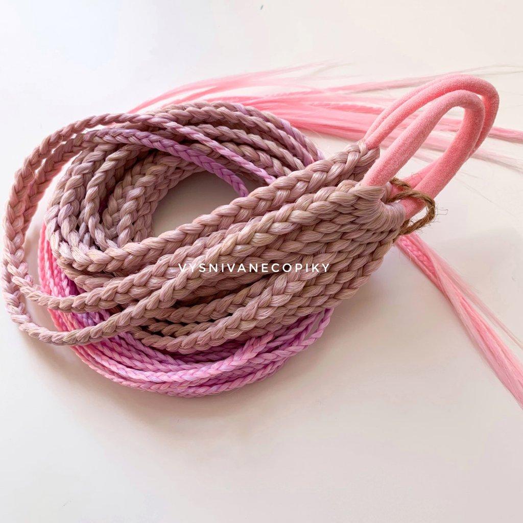 Pár copíkových gumičiek - Blond/Lavander/L-pink