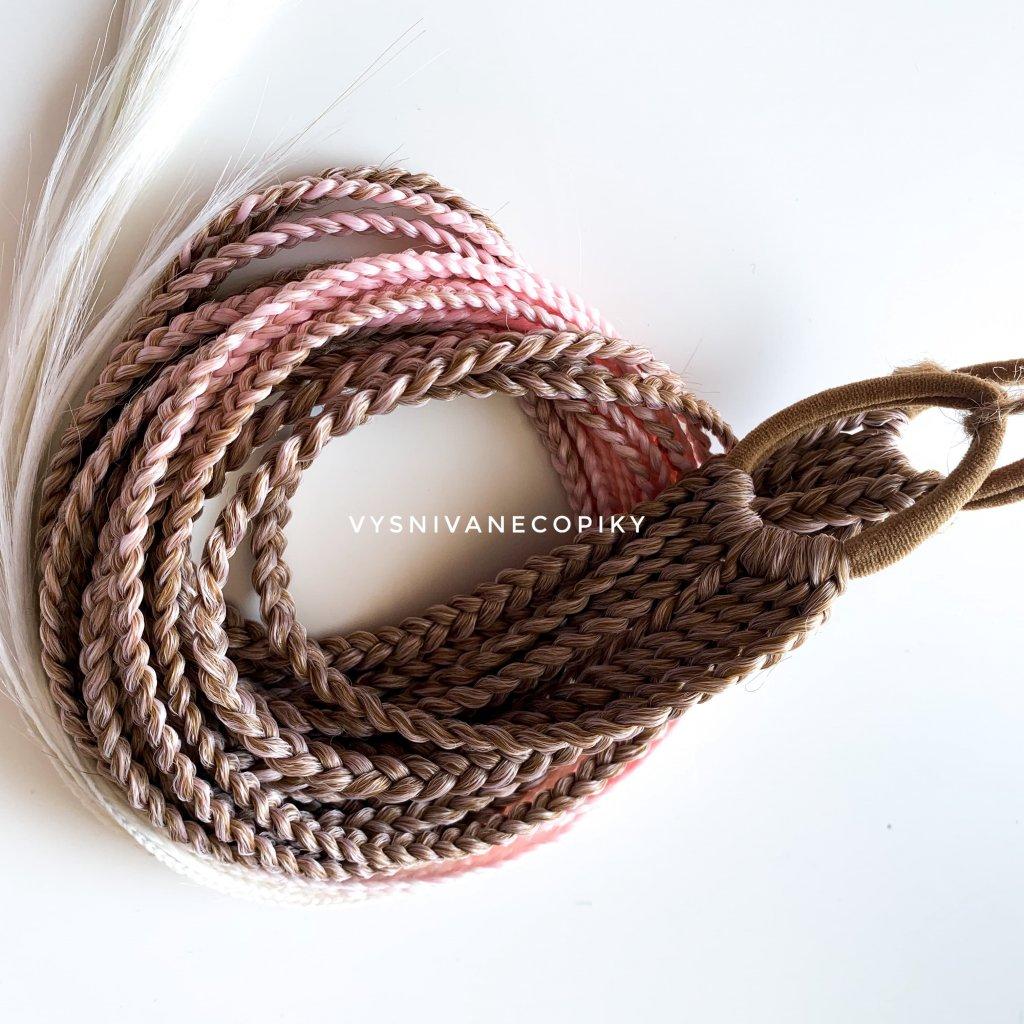 Pár copíkových gumičiek - Brown/L-pink/White