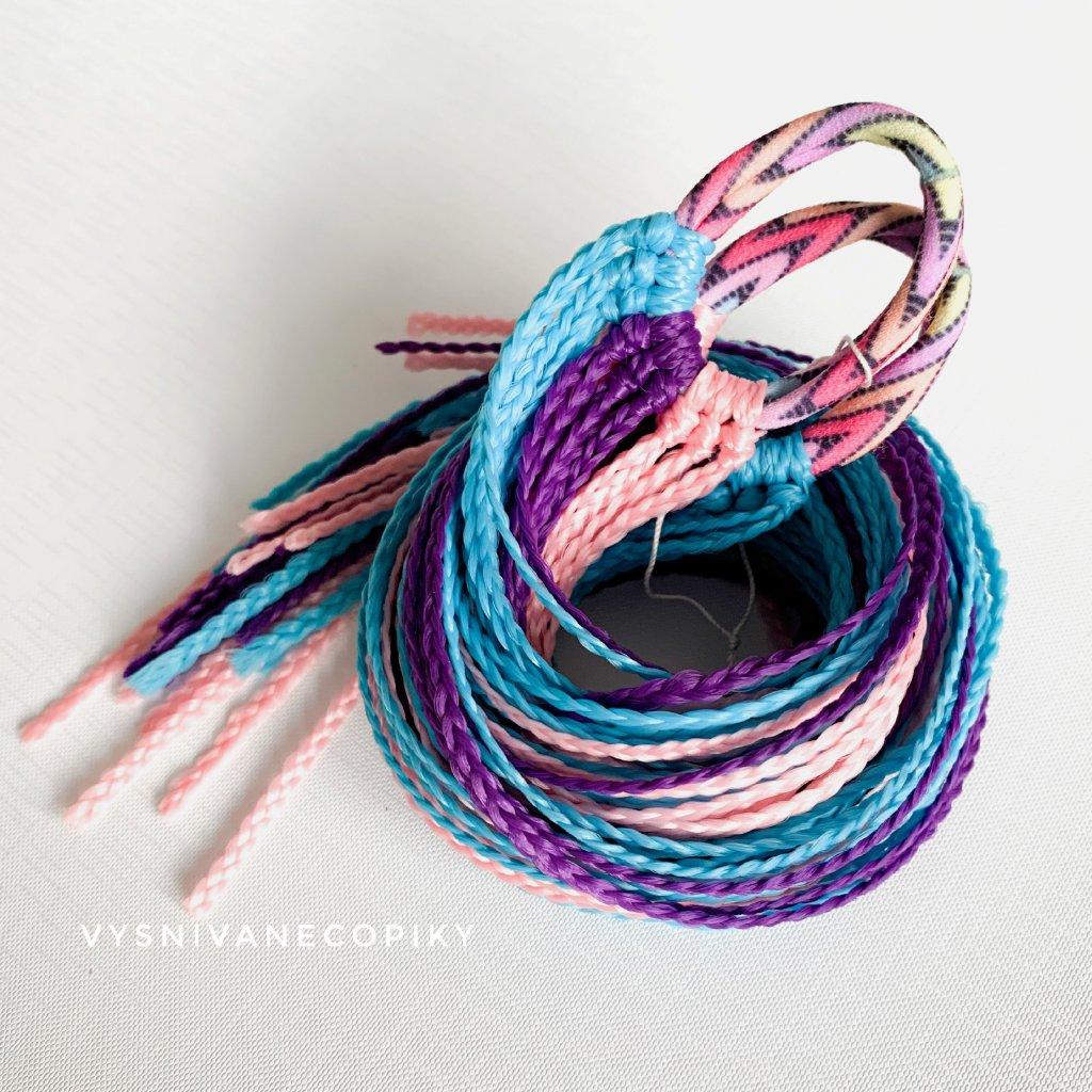 Pár zizi copíkových gumičiek - fialovo-modro-ružová/Purple-Blue-Pink