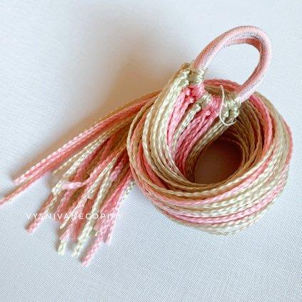Pár zizi copíkových gumičiek - Bledá-ružová/Blond-Pink