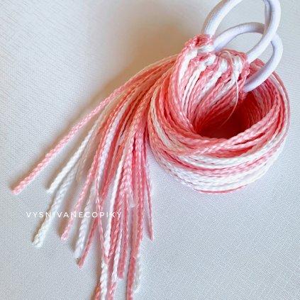 Pár zizi copíkových gumičiek - Ružovo-Biela/Pink-White