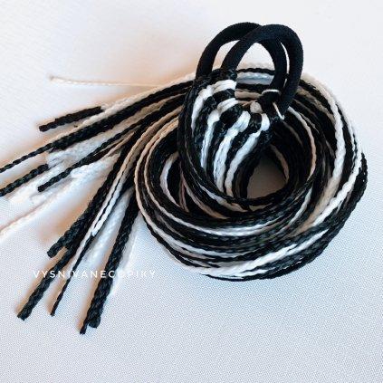 Pár zizi copíkových gumičiek - čierno-biela/Black-White