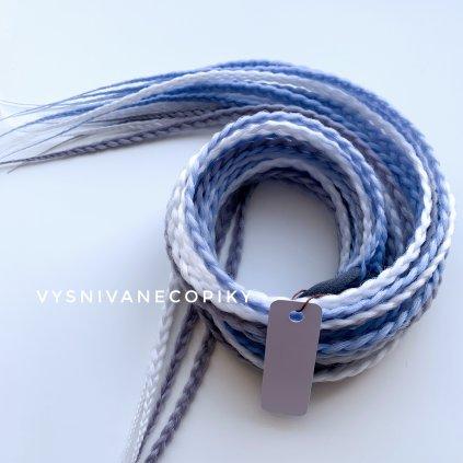 Pár copíkových gumičiek - modrá/biela/sivá - Blue/White/Grey