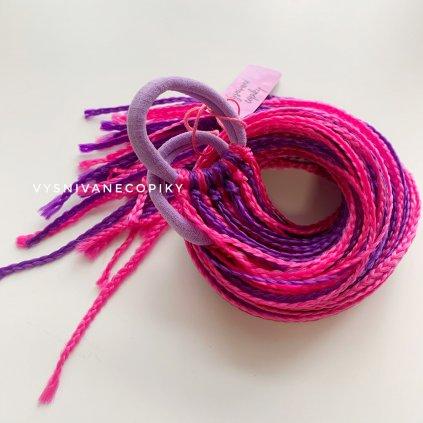 Pár zizi copíkových gumičiek - Fialová/ružová - Purple/Pink