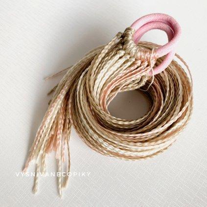 Pár zizi copíkových gumičiek - Blond-ružová/Blond-Pink