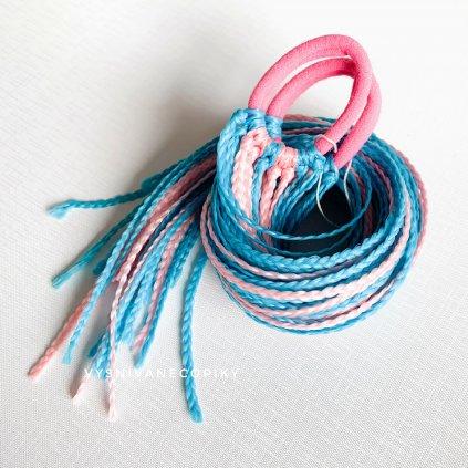 Pár zizi copíkových gumičiek - Ružovo-Modrá/Pink-Blue