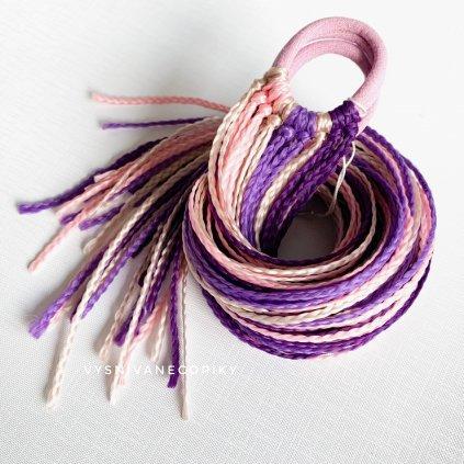 Pár zizi copíkových gumičiek - Fialová-Blond/Purple-Blond