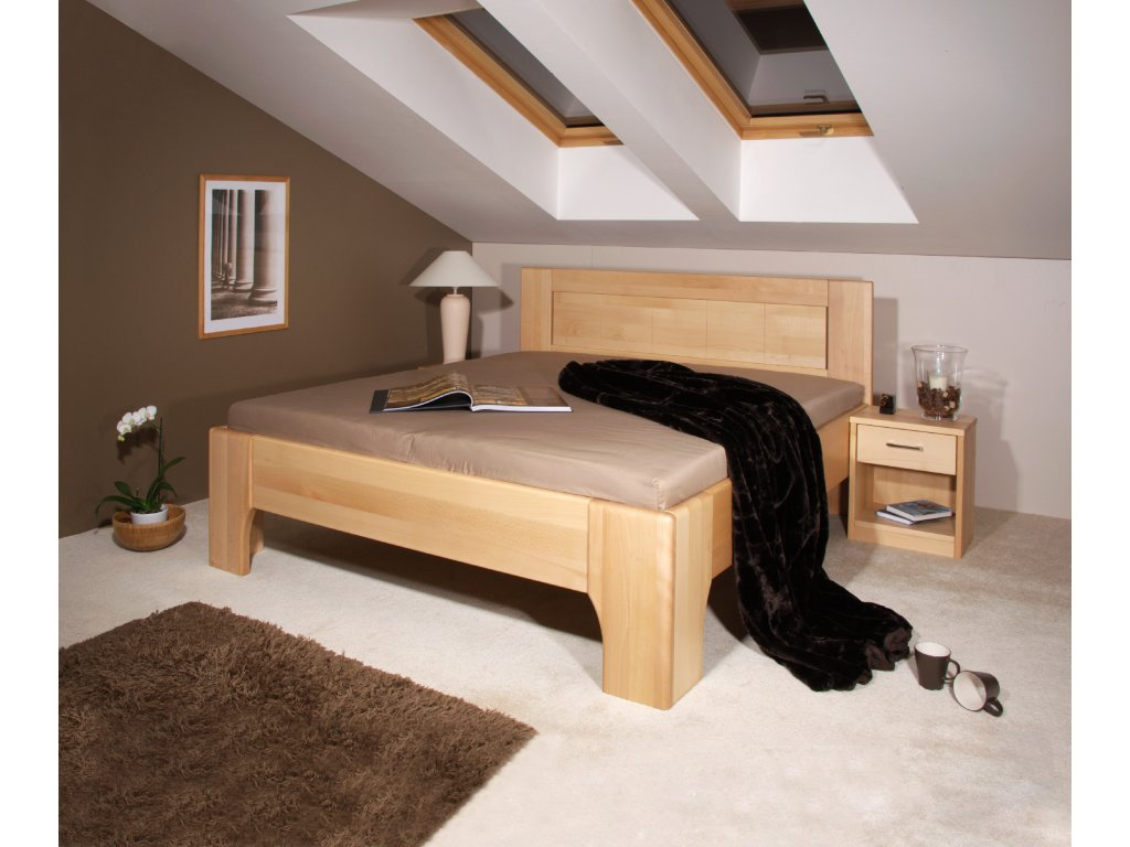 Manželská postel Olympia 2, Masiv, Buk, 160x200 cm