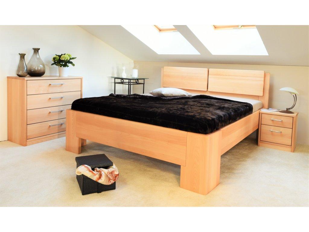 Manželská postel Manhattan 2, Masiv, Buk, 180x200 cm