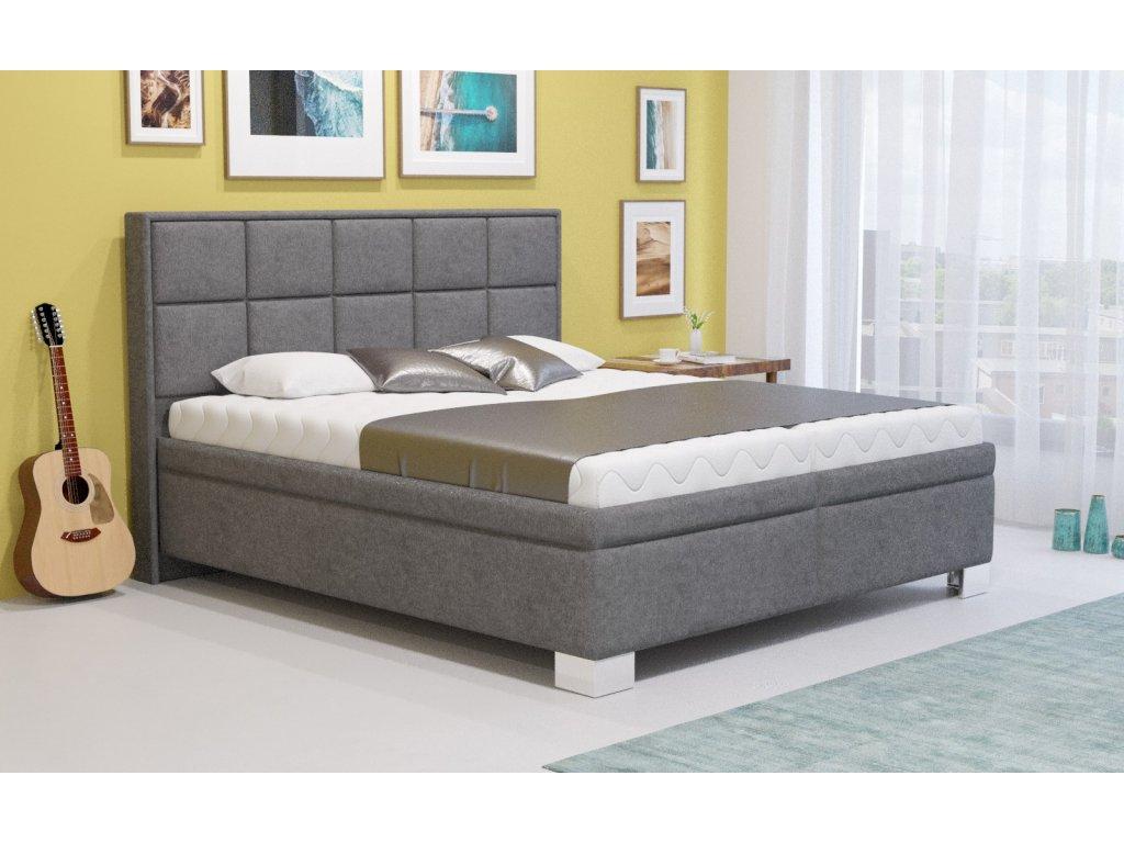 Manželská postel LARNACA 160x200 vč. matrace PREMIUM s úložným prostorem - Boxspring