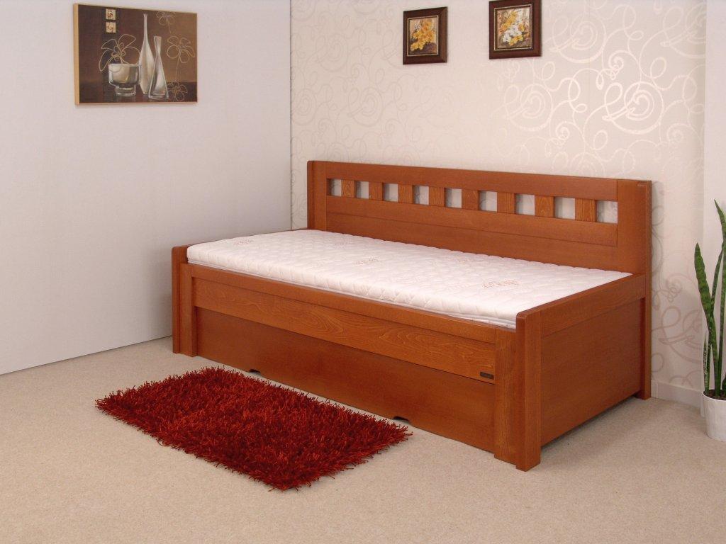 Rozkládací dřevěná postel Sokosti rohová