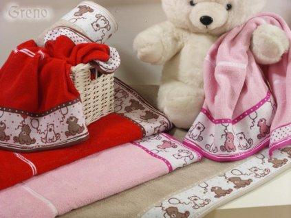 Sweet Bear ručník,osuška červená