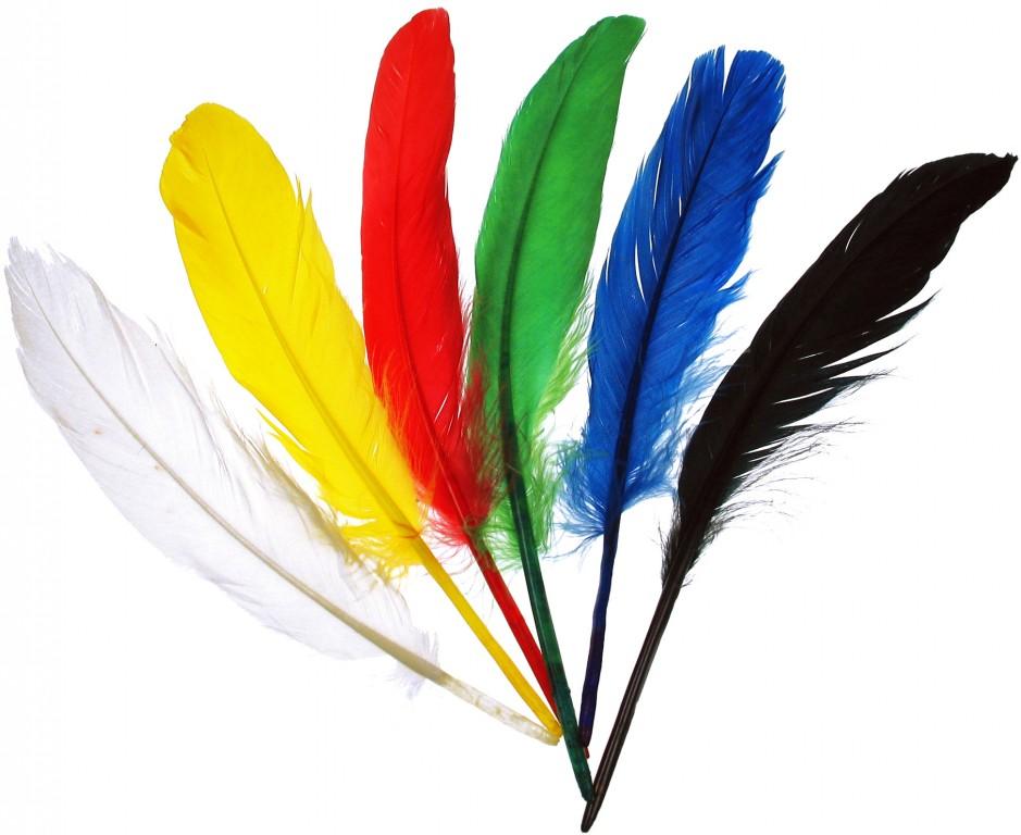 Indiánská péra - různé barvy