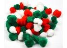 Bambulky - akrylové červené, bílé, zelené - 2,5 cm / 80 ks