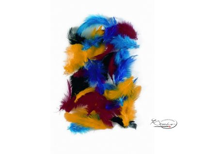 Peří slepičí 2 g, 5-7 cm, barevný mix