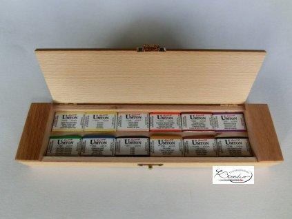 Set akvarelových barev v dřevěné kazetě 12ks