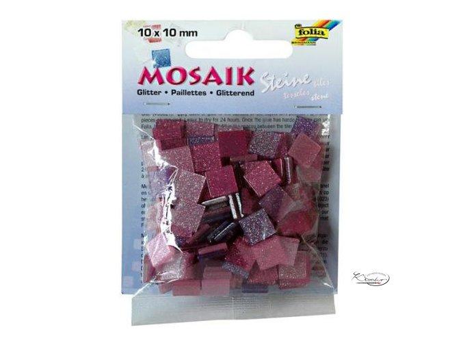Mozaika plastová Třpytivá 10x10 mm - Červenorůžový mix