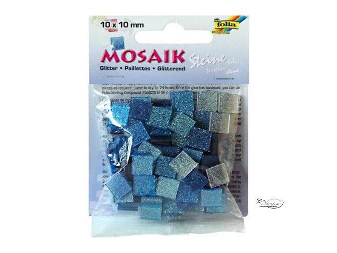 Mozaika plastová Třpytivá 10x10 mm - Modrý mix