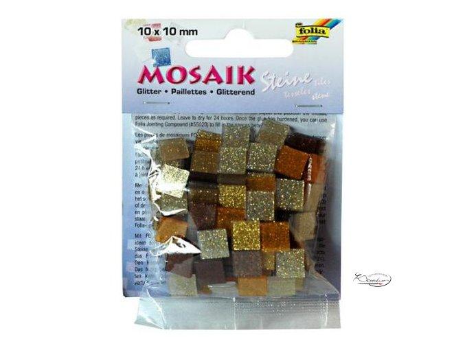 Mozaika plastová Třpytivá 10x10 mm - Zlato hnědý mix