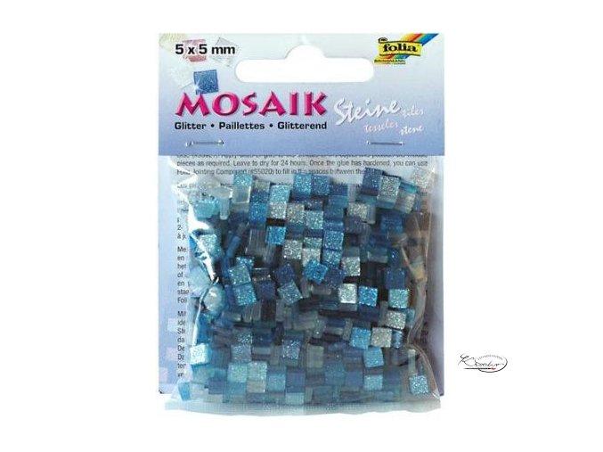 Mozaika plastová Třpytivá 5 x 5 mm - Modrý mix