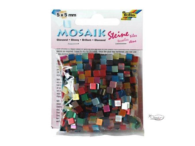 Mozaika plastová 5 x 5 mm - Lesklá Mix barev