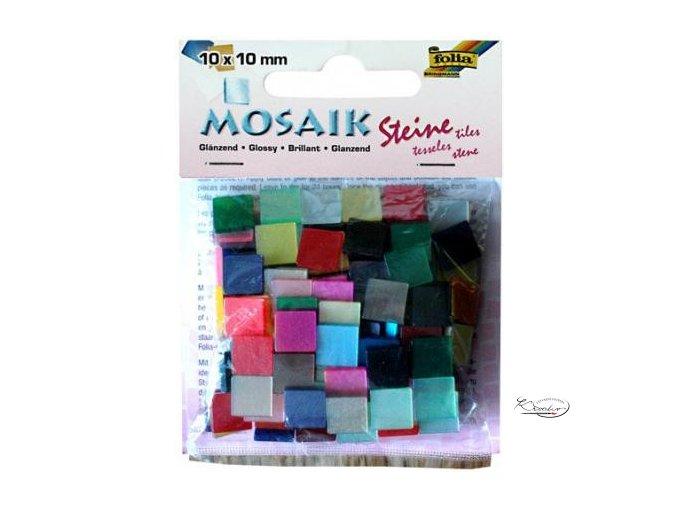 Mozaika plastová 10 x 10 mm - Lesklá Mix barev