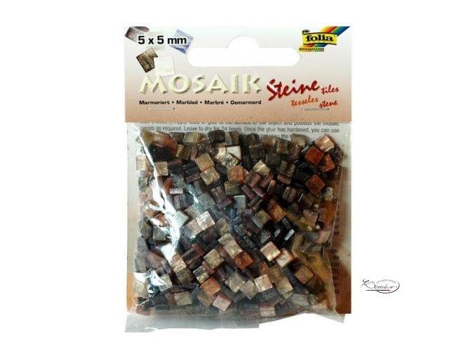 Mozaika plastová 5 x 5 mm - Mramorová hnědý mix