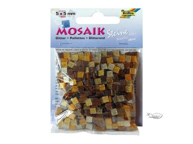 Mozaika plastová Třpytivá 5 x 5 mm - Hnědý mix
