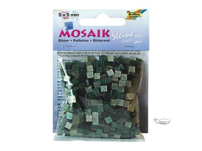 Mozaika plastová Třpytivá 5 x 5 mm - Zelený mix