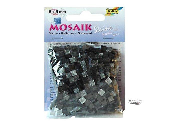 Mozaika plastová Třpytivá 5 x 5 mm - Stříbrný mix