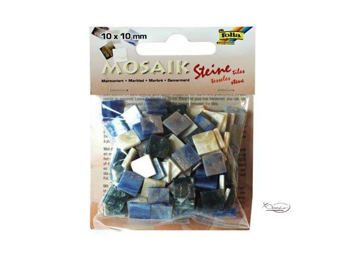 Mozaika plastová 10 x 10 mm - Mramorová Modrý mix