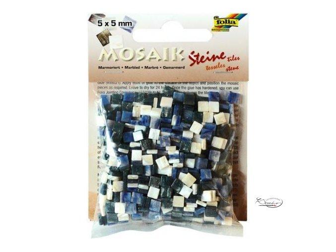 Mozaika plastová 5 x 5 mm - Mramorová Modrý mix