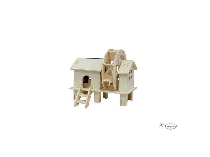 Dřevěná skládačka 3D puzzle - Vodní mlýn