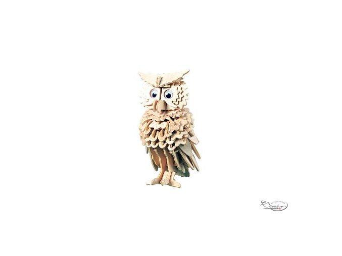 Dřevěná skládačka 3D puzzle - Owl