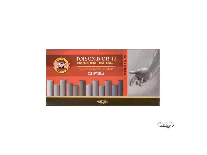 TOISON D´OR 12 souprava prašných kříd - šedé kulaté