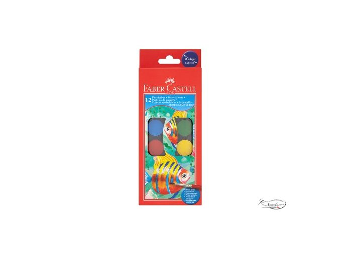 Vodové barvy Faber - Castell 12ks / 24 mm