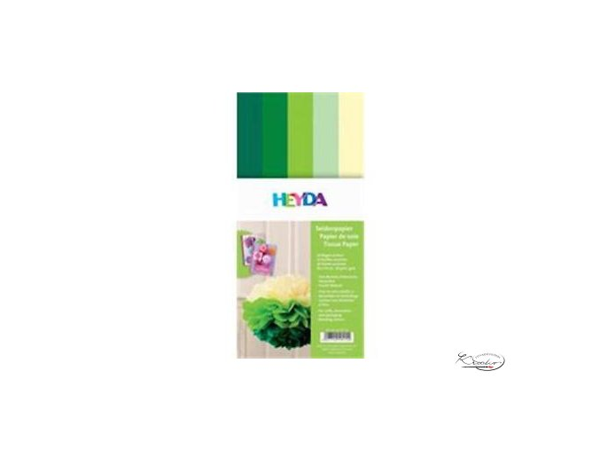 Hedvábný papír 50x70 cm 20g Mix zelenožlutý
