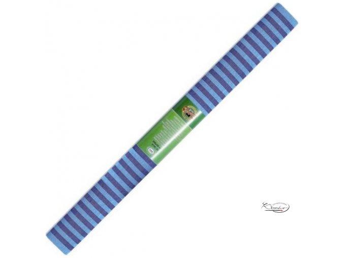 Krepový papír - pruhovaný modro/tmavě modrý 200x50cm