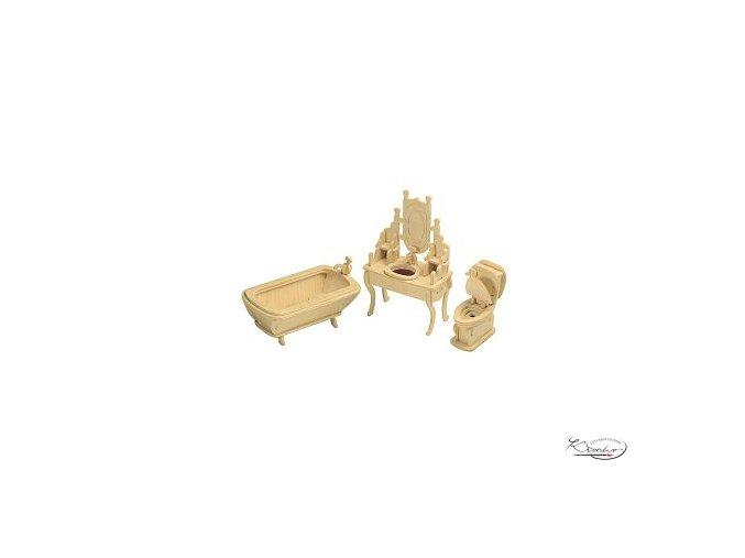 Dřevěná skládačka 3D puzzle - Koupelna