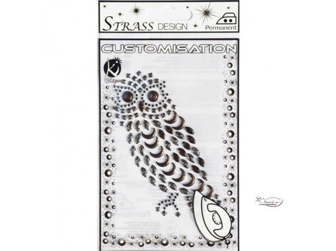 Nažehlovací štrasový obrázek 10,5 x 7,5 cm - Sova