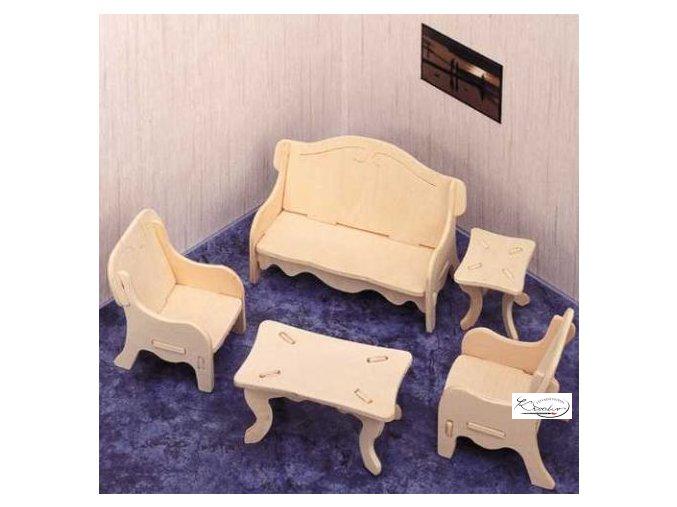 Dřevěná skládačka 3D puzzle - Obývací pokoj