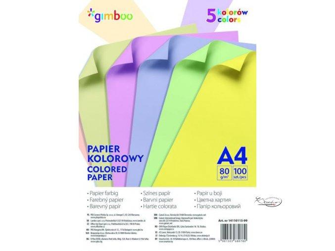 Složka barevných papírů A4, 80 g/m2, 100 listů - mix pastelových barev