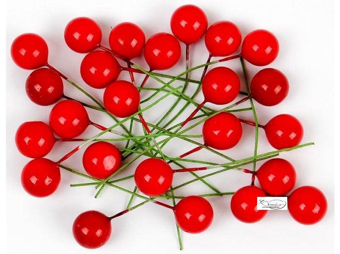 Dekorační cesmína - červená 24 ks